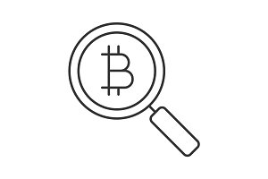 Bitcoin research linear icon