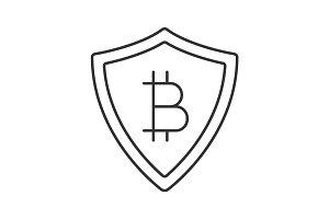 Safe bitcoin payments linear icon