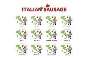 Italian sausage vector illustration