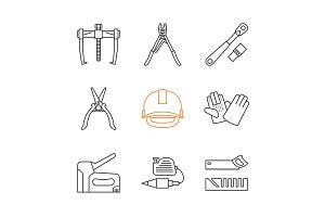Construction tools linear icons set