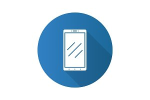 Smartphone flat design long shadow glyph icon