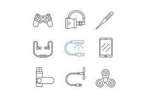 Gagdets linear icons set