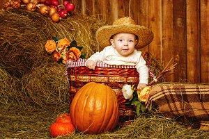 Girl and harvest pumpkins