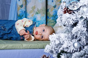 Baby and Christmas Tree