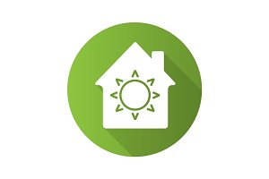 House eco electrification flat design long shadow glyph icon