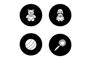 Kids toys glyph icons set