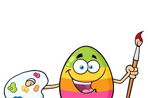 Happy Colored Easter Egg