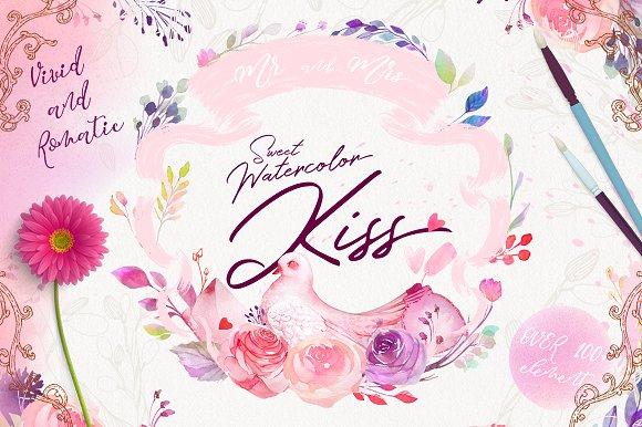 Watercolor Kiss - Romantic Clipart