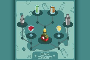 Bar color isometric concept icons