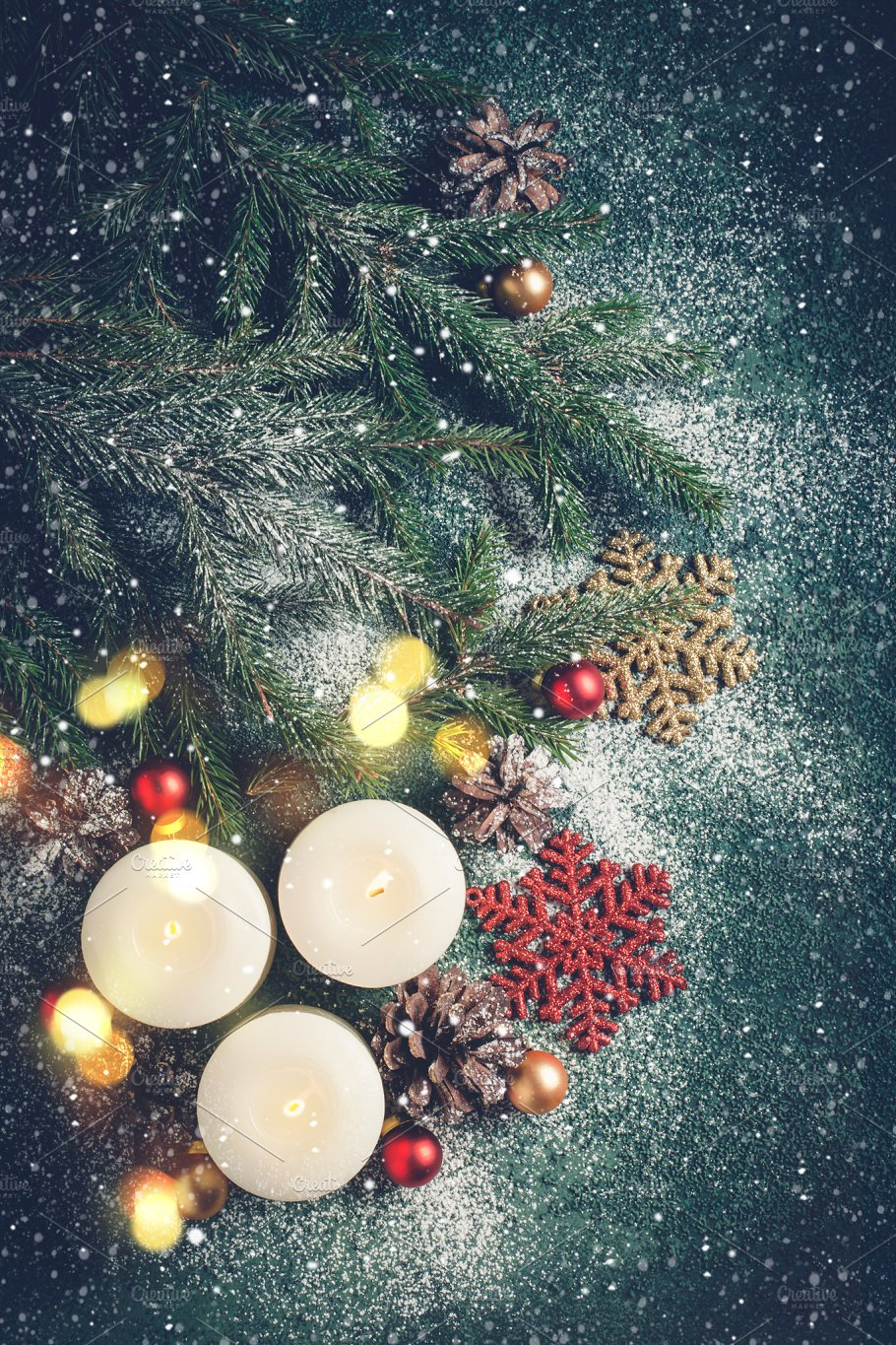 Christmas background with candles and snow xmas greeting card christmas background with candles and snow xmas greeting card holidays m4hsunfo