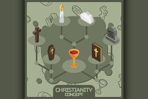 Christianity isometric concept icons