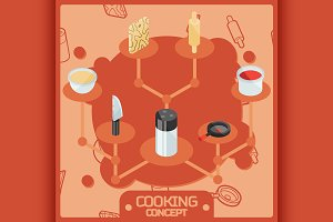 Cooking color concept icons