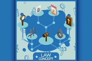 Law color isometric concept icons