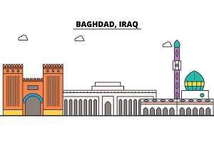 Baghdad, Iraq outline skyline, arab flat thin line icons, landmarks, illustrations. Baghdad, Iraq cityscape, arab travel city vector banner. Urban silhouette