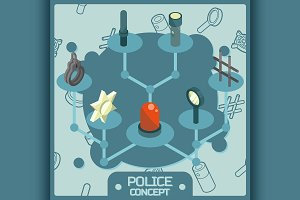 Police color isometric concept icons