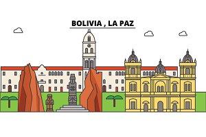 Bolivia , La Paz outline skyline, bolivian flat thin line icons, landmarks, illustrations. Bolivia , La Paz cityscape, bolivian travel city vector banner. Urban silhouette