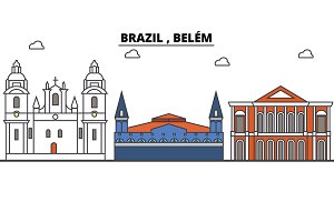 Brazil , Belem outline skyline, brazilian flat thin line icons, landmarks, illustrations. Brazil , Belem cityscape, brazilian travel city vector banner. Urban silhouette