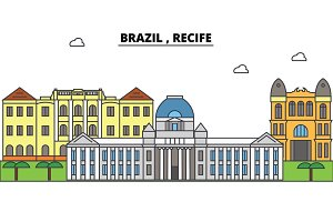 Brazil , Recife outline skyline, brazilian flat thin line icons, landmarks, illustrations. Brazil , Recife cityscape, brazilian travel city vector banner. Urban silhouette