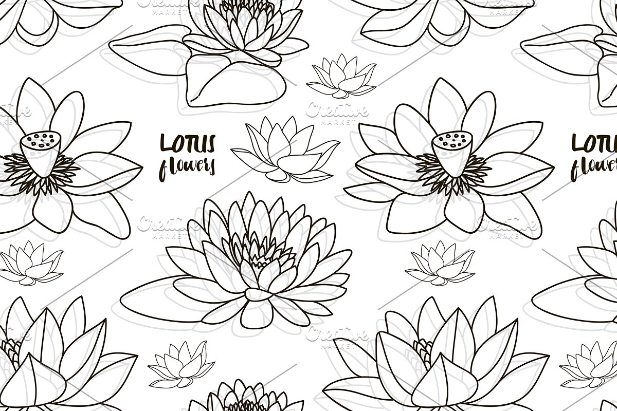 Set Of Lotus Flowers Pattern Graphic Patterns Creative Market