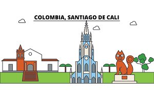 Colombia, Santiago De Cali outline skyline, columbian flat thin line icons, landmarks, illustrations. Colombia, Santiago De Cali cityscape, columbian travel city vector banner. Urban silhouette