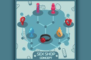 Sex shop isometric concept icons