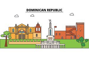 Dominican Republic outline skyline, dominican flat thin line icons, landmarks, illustrations. Dominican Republic cityscape, dominican travel city vector banner. Urban silhouette