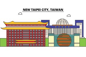 New Taipei City, Taiwan outline skyline, Taiwanese flat thin line icons, landmarks, illustrations. New Taipei City, Taiwan cityscape, Taiwanese travel city vector banner. Urban silhouette