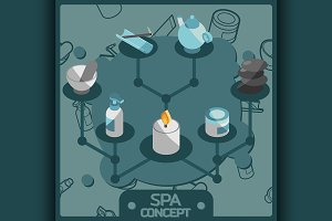 Spa color isometric concept icons