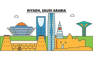 Riyadh, Saudi Arabia outline skyline, arab flat thin line icons, landmarks, illustrations. Riyadh, Saudi Arabia cityscape, arab travel city vector banner. Urban silhouette