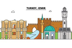 Turkey, Izmir outline skyline, turkish flat thin line icons, landmarks, illustrations. Turkey, Izmir cityscape, turkish travel city vector banner. Urban silhouette