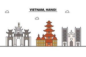 Vietnam, Hanoi outline skyline, vietnamese flat thin line icons, landmarks, illustrations. Vietnam, Hanoi cityscape, vietnamese travel city vector banner. Urban silhouette