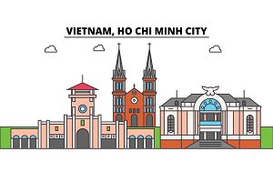 Vietnam, Ho Chi Minh City outline skyline, vietnamese flat thin line icons, landmarks, illustrations. Vietnam, Ho Chi Minh City cityscape, vietnamese travel city vector banner. Urban silhouette