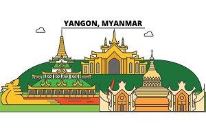 Yangon, Myanmar outline skyline, Burmese flat thin line icons, landmarks, illustrations. Yangon, Myanmar cityscape, Burmese vector travel city banner. Urban silhouette