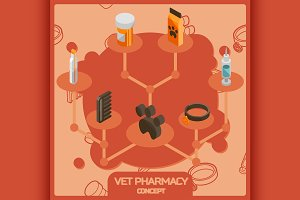 Vet pharmacy concept icons