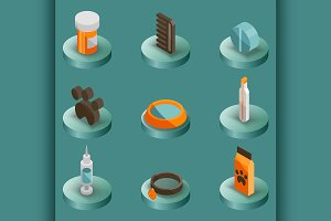 Vet pharmacy color isometric icons