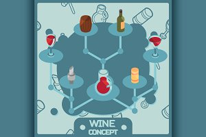 Wine color isometric concept icons