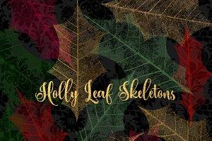 Holly Leaf Skeleton Clipart