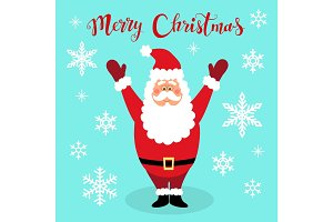 Cute Christmas greeting card with hand drawn cartoon character of Santa Claus, snowflakes and lettering