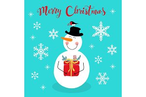 Cute Christmas greeting card with hand drawn cartoon character of Snowman, snowflakes and lettering