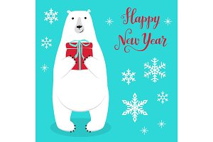 Cute Christmas greeting card with hand drawn cartoon character of Polar Bear, snowflakes and lettering
