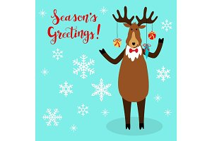 Cute Christmas greeting card with hand drawn cartoon character of Reindeer, snowflakes and lettering