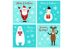 Cute Christmas cartoon characters of Santa Claus, Reindeer, Snowman and Polar Bear