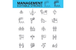 Management ouline vector icons. Editable strokes. Businessman signs set. Human resources thin line icons. Business management process logo