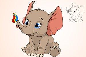 Funny kid elephant