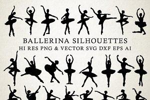Ballet Ballerina Silhouettes Vector