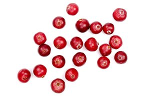 Cranberry isolated on white background closeup top view