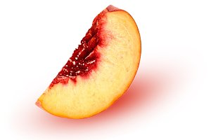 slice of peach isolated on white background
