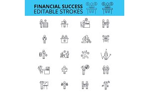 Financial success ouline vector icons. Editable strokes. Financial planning signs set. Finance control concept thin line icons. Money making logo
