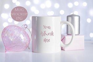 Christmas Mug mockup - white & pink