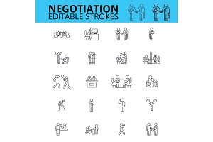 Negogiation skills ouline vector icons. Editable strokes. Business meeting signs set. Negogiation business concept thin line icons. Agreement logo